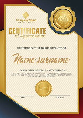 Certificate template with luxury and elegant texture modern pattern, diploma, Vector illustration Zdjęcie Seryjne - 134856422
