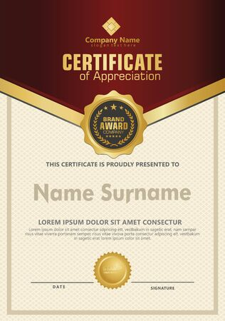 Luxury and elegant certificate template. Vector illustration