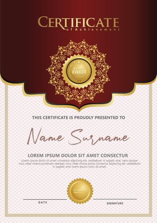 Luxury vertical Certificate template with elegant texture modern pattern, diploma, Vector illustration Ilustrace