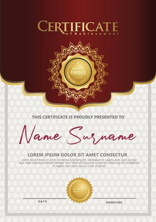 Luxury vertical Certificate template with elegant texture modern pattern, diploma, Vector illustration