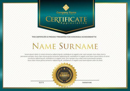 Luxus und elegante moderne Zertifikatsvorlage mit Texturmusterhintergrund.