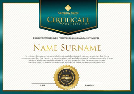 Plantilla de certificado moderno de lujo y elegante con fondo de textura.