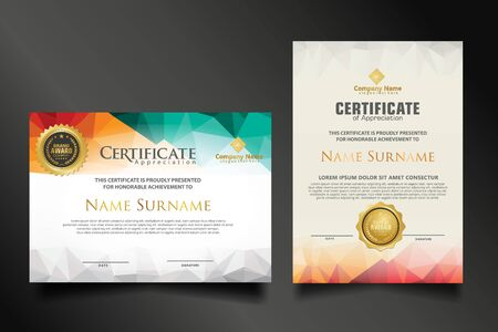 Two set certificate template with dynamic and futuristic polygonal color and modern background.