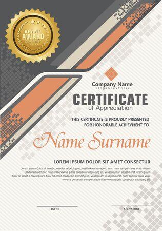 Elegant and futuristic modern certificate template with halftone ornament on pattern background. Ilustracja