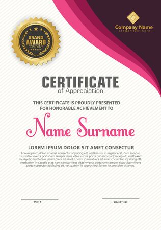 Elegant and futuristic modern certificate template with flow lines ornament on pattern background.