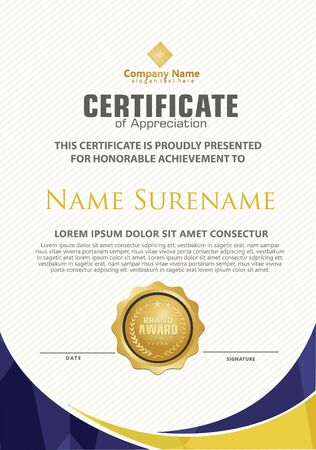 Elegant and futuristic modern certificate template with polygonal flow lines ornament on pattern background.