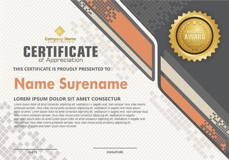 Elegante und futuristische moderne Zertifikatsvorlage mit Halbtonverzierung auf Musterhintergrund. Vektorgrafik