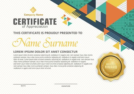modern certificate template with geometric triangle with halftone on line ornament on pattern background. Ilustracja