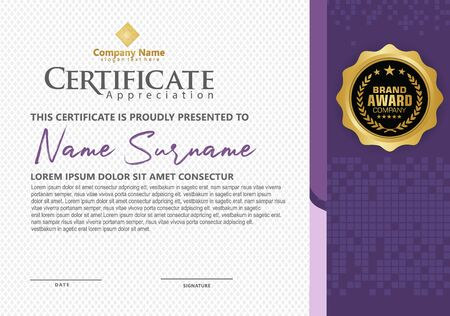 modern certificate template with futuristic and dynamic halftone on line ornament on pattern background.