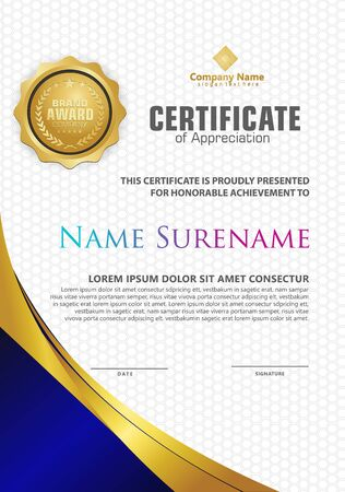 Luxury and elegant certificate template with modern pattern and gold flow lines ornament, diploma,Vector illustration