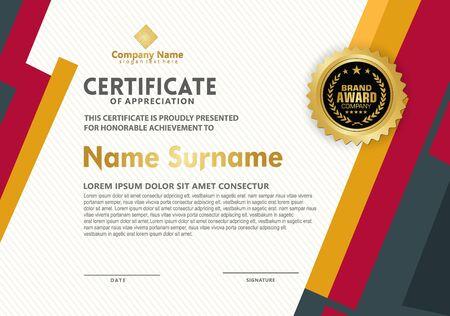 Zertifikatsvorlage mit modernen Mustern und Linien dynamische und futuristische Farbe, Diplom, Vektorillustration