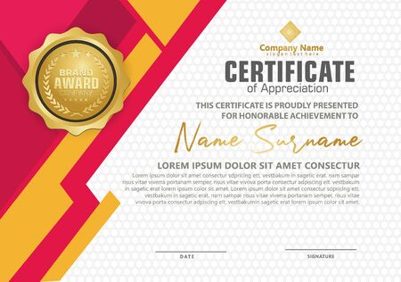 certificate template with modern pattern and lines dynamic and futuristic color, diploma,Vector illustration
