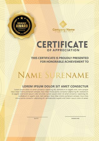 certificate template with modern pattern and lines dynamic and futuristic color, diploma,Vector illustration Vector Illustration