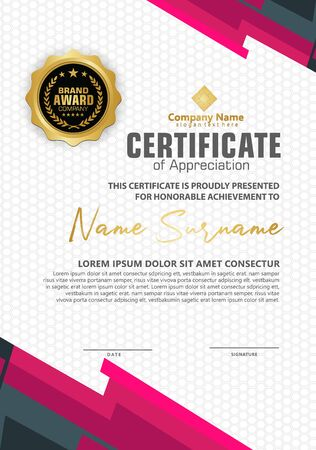 certificate template with modern pattern and lines dynamic and futuristic color, diploma,Vector illustration Vektoros illusztráció