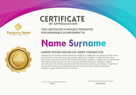 certificate template with modern pattern and flow lines gradation colorful, diploma,Vector illustration