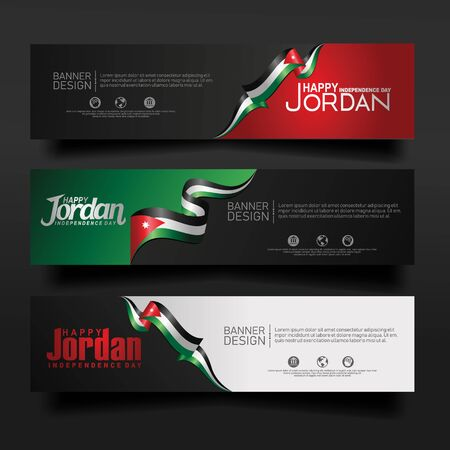 Abstract vector layout horizontal banner Jordan independence day set. For art template design, tag, card. banner, backdrop and other user events