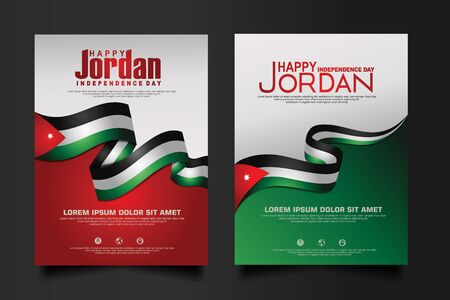 Abstract vector layout background Jordan independence day set. For art template design, mockup brochure, banner, idea, cover, booklet, print, flyer, book, card and other users