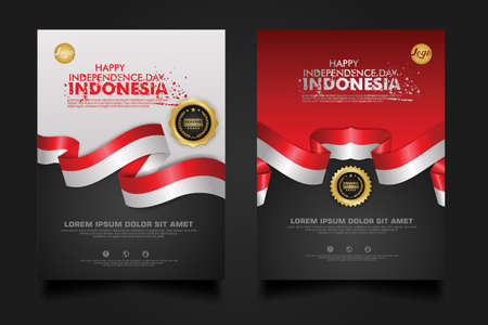 Indonesia happy Independence Day background template for elements material design a poster, leaflet, brochure, flayer, cover books and others users