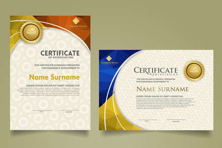 Set modern certificate template with triangle geometric polygon on circular lines ornate background. vector illustrations