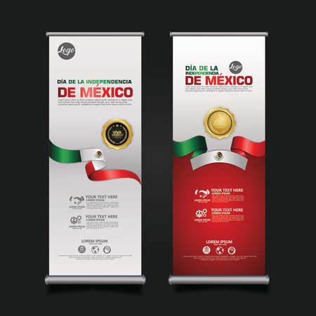 Mexico Independence Day Celebration, roll up banner set design Template. vector illustration