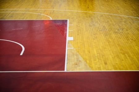 Wooden basketball court, indoor sports playground