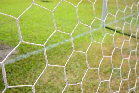 soccer net on green grass background photo