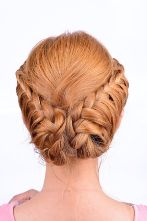 updo: Rear view of coiffure from pigtails