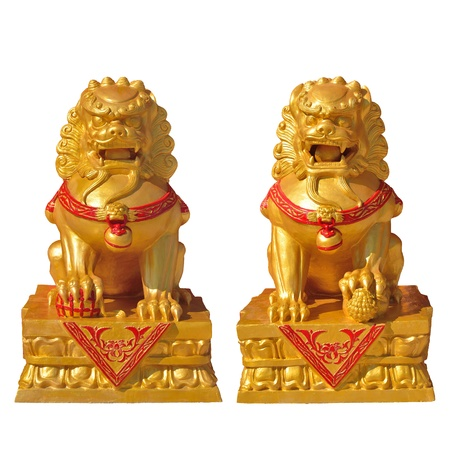 golden lion statue, symbol of protection & power in oriental asia especially china photo