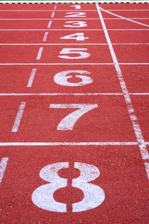 running track number start and finish line photo