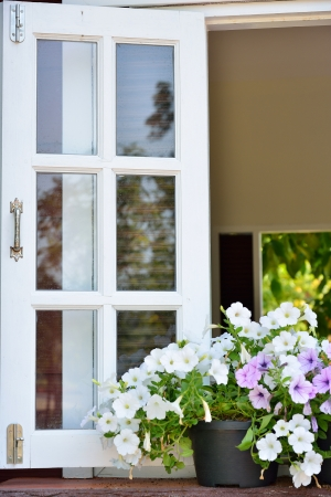 Window decorated with fresh flowers photo