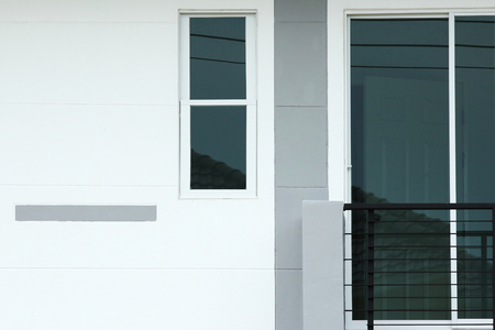 front of a new modern townhouse photo