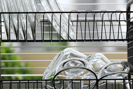 clean dish on a dish rack photo