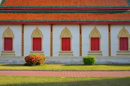 lamphun: architecture of northern thailand in temple buddhism at Wat Phra That Hariphunchai, Lamphun, Thailand Stock Photo