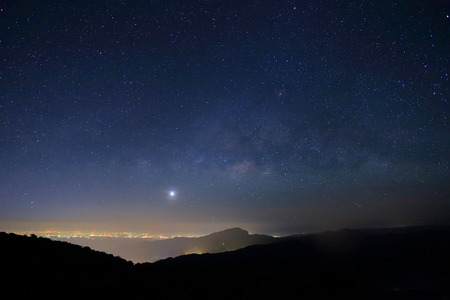 Landscape of Milky Way beautiful sky on Doi Inthanon mountain, Chiang Mai, Thailand  photo