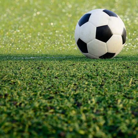 soccer field stadium on the green grass, soccer ball sport game for background design photo