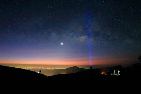 Landscape of Milky Way beautiful sky on Doi Inthanon mountain, Chiang Mai, Thailand. photo
