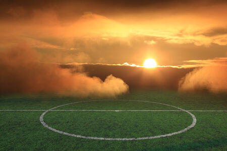 soccer field stadium on the green grass, sunshine sport game background for design photo