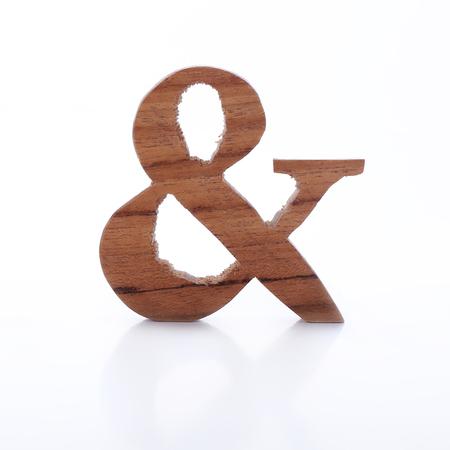 English alphabet ampersand symbol wooden photo