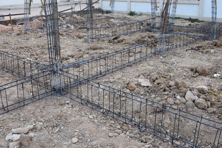reinforcing steel bars for building construction photo