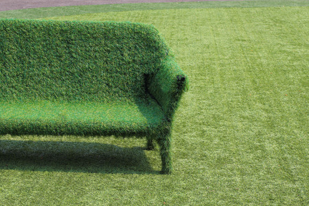 eco style of interior decoration the grass sofa with green grass floor photo