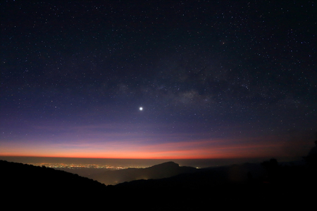 Sunrise in the morning, Landscape of Milky Way beautiful sky on Doi Inthanon mountain, Chiang Mai, Thailand. photo