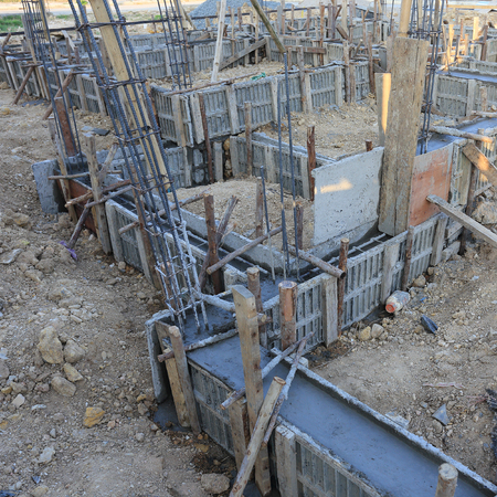 construction house, reinforcement metal framework for concrete pouring Stock Photo