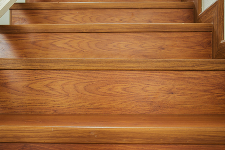 wooden staircase interior in the modern house photo