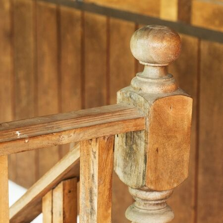banister: wood staircase, banister carving wooden thai style