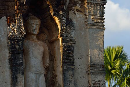 ism: sculpture buddha stone statue in temple buddhism, Wat Cham Thewi, Lamphun, Thailand