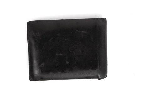 black wallet isolated on white background photo