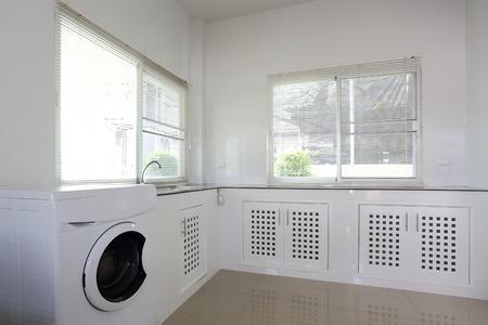 white kitchen room in modern house
