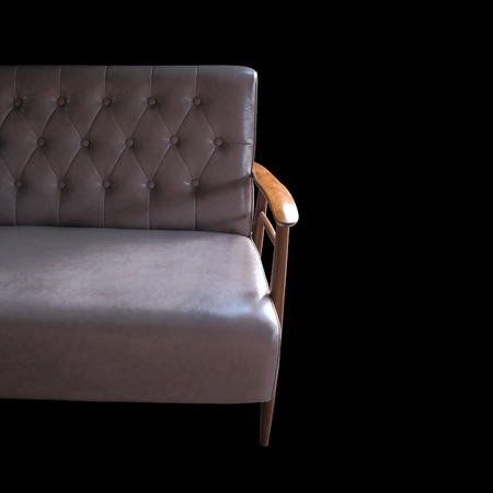 sofa leather furniture isolated on black background photo