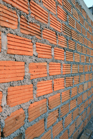 residential construction: brick block in residential construction site