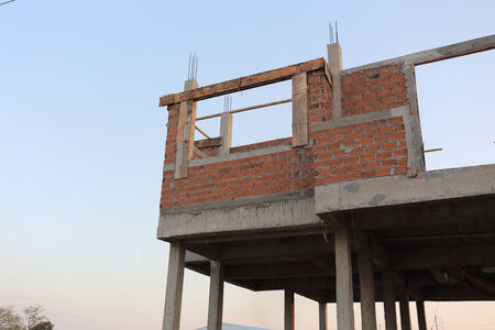 residential building construction site with brick block photo
